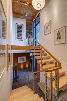 images about Hoke House on Pinterest   Landscape    Interior staircase in the Midvale Courtyard House in Madison  WI  re designed by Bruns Architects
