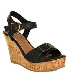 Look at this #zulilyfind! Black Super Double-Buckle Wedge Sandal #zulilyfinds