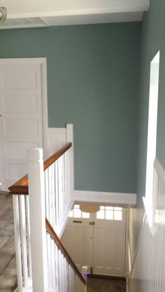 Crown Classic Duck Egg hallway landingCrown Classic Duck Egg hallway landingBlue paint colorsPotential wall color from Eggshell Blues paint colors in May 2013 issue of BHGKitchen extension ideas - to maximize the potential of your Stairs Colours, Hallway Colours, Hallway Colour Schemes, Landing Decor, Stair Landing, Crown Paint Colours, Paint Colors, Duck Egg Bedroom, Entryway Light Fixtures
