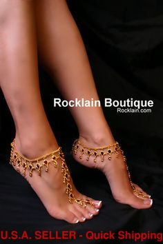 Pair of TOERING ANKLETS w MAROON RHINESTONES belly Rocklain Bollywood