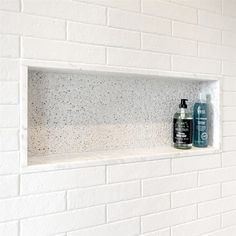 Tile Shower Niche, White Subway Tile Shower, Subway Tile Showers, Bathroom Niche, Bath Tiles, Tub Shower Combo, Shower Tub, Master Bathroom, Bath Tub Tile Ideas