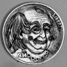 Lee Griffiths Hobo Nickel, Coin Art, Antique Coins, Clowns, Jewelry Collection, Buffalo, Classic Style, Weird, Skull