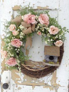 Spring Birdhouse Wreath