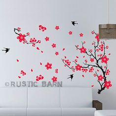Japanese Black and coloured Cherry blossom wall sticker decor -for main bedroom