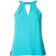 Trina Turk halter blouse (235 CAD) ❤ liked on Polyvore featuring tops, blouses, blue, halter top, trina turk, blue blouse, blue halter top and halter blouse