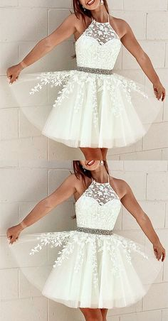 Elegant Tulle Homecoming Dresses Lace Embroidery Cross Back - Formal dresses short - Cute Formal Dresses, Semi Dresses, Hoco Dresses, Event Dresses, Dress Prom, 8th Grade Formal Dresses, Semi Formal Dresses For Teens, White Semi Formal Dress, Wedding Dresses