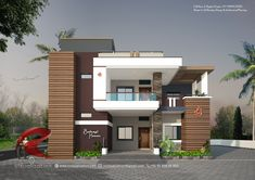 Small House Elevation 21 Beautiful Pin by Sandeep Borchate Bb On Bunglows 2 Storey House Design, Duplex House Design, House Front Design, Modern House Design, Indian Home Design, Bungalow Haus Design, Bungalow Designs, Indian House Plans, Architecture Design