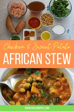 A sweet, savoury, rich, mildly spicy stew from Ghana, with chicken and sweet potatoes. Full of lean protein, slow energy releasing chick peas and nutrition packed kale, it's dairy free and also doesn't take hours to make. You can make it thick for a stew or runny to serve as a nutritious soup. The perfect family dinner for grown ups and kiddies alike. #familydinner #familydinnerrecipes #chickenstew Toddler Dinner Recipes, Healthy Toddler Meals, Healthy Kids, Gluten Free Recipes For Kids, Healthy Recipes, Easy Family Meals, Kids Meals, African Stew, Spicy Stew