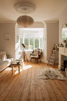 Victorian living room renovation with Scandinavian styling and vintage touches 2020 Living Room Design Ideas My Living Room, Home And Living, Living Room Furniture, Living Spaces, Modern Living, Wicker Furniture, Living Room With Bay Window, Living Room Wooden Floor, Small Living