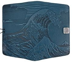 Leather Kindle Covers and Cases | Hokusai Wave in Sky Blue