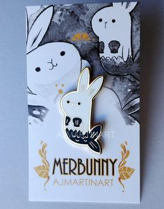 Merbunny Hard Enamel Pin by AJMARTINART on Etsy