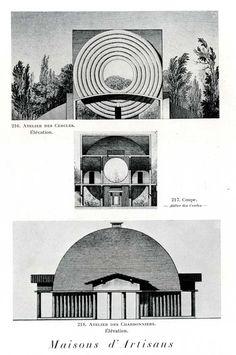 claude ledoux: Maison d'Artisan Conceptual Architecture, Types Of Architecture, Paper Architecture, French Architecture, Architecture Drawings, Historical Architecture, Contemporary Architecture, Architecture Design, Claude Nicolas Ledoux