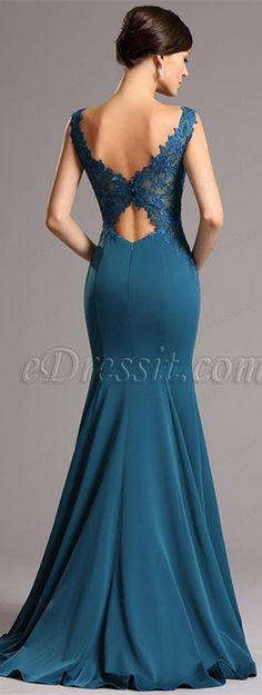 Blue gown with stylish cutouts back! price: $179.99 #edressit #formaldress #fashion #eveningdress