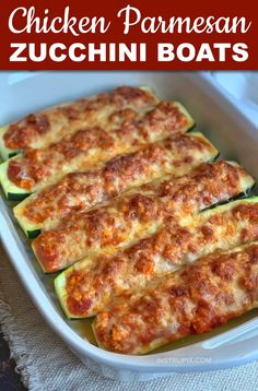 A Healthy Low Carb Dinner Idea: Chicken Parmesan Stuffed Zucchini Boats (Quick & Easy Recipe!) A Healthy Low Carb Dinner Idea: Chicken Parmesan Stuffed Zucchini Boats (Quick & Easy Recipe!),Keto Chicken Recipes Looking for. Low Carb Chicken Parmesan, Chicken Marinara, Keto Chicken, Zucchini Parmesan, Cheesy Zucchini Bake, Chicken Zucchini, Gluten Free Recipes For Dinner, Easy Dinner Recipes, Low Carb