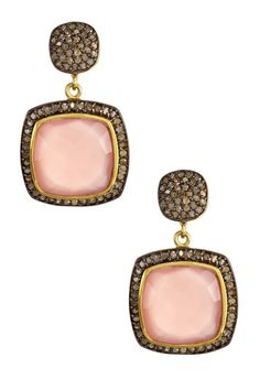 Pink Chalcedony & Champagne Diamond Faceted Drop Earrings on HauteLook