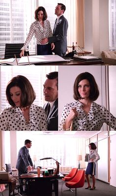 best hair and outfit - polka dot ruffle. megan draper is my new favorite on mad men