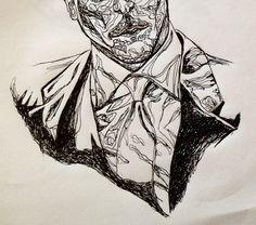 pen. contour. suit. man. art. drawing.