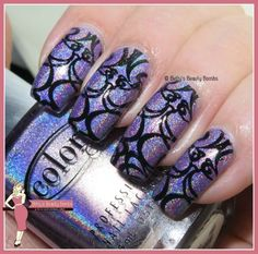 I started with two coats of Color Club Eternal Beauty. Then, I used It Girl Nail Art fashion plate IG 103 to stamp this design using Mundo de Unas Black.