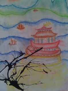 Chinese landscape with temple, traced in sharpie, color with chalk pastel, blown ink to create a tree