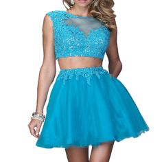 A227 blue short prom dress, lace top 2 pieces homecoming dresses, blue lace prom dresses short