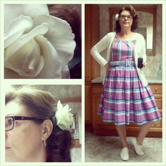 Denise Corvin is rocking the Annette dress in Turquoise plaid and looking fabulous. We love the hair flower!!!