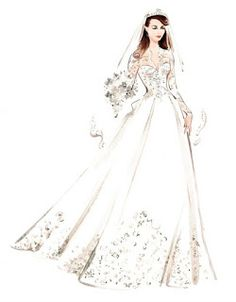 Bride in wedding dress, beauty and fashion illustration by Katharine Asher Wedding Dress Illustrations, Wedding Dress Sketches, Wedding Illustration, Illustration Mode, Dress Design Drawing, Dress Drawing, Fashion Design Drawings, Fashion Sketches, Disney Princess Dresses