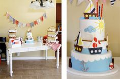 a sailboat birthday party for a little boy! How cute!