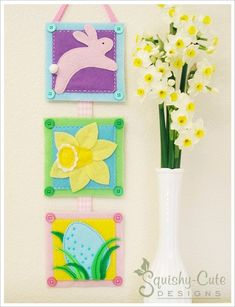 Free printable sewing patterns - Easter wall hanging - Easter sewing pattern - felt banner