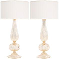 1stdibs | Pair of Murano Pulegoso Glass Lamps