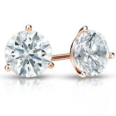 Certified 14k Rose Gold 3-Prong Martini Hearts