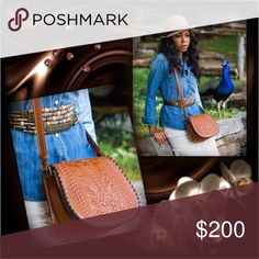 """Patricia Nash Salerno Saddle Bag Country Chic....Bella Ragazza  Florence in color; contrasting leather whipstitch trim; heavy handcrafted tooled stitching; rear slip pocket magnetic snap, zipper; adjustable crossbody strap; 100% Italian leather; interior: zip pocket, 2 slip pockets, fully lined; approx. meas. 9 1/4"""" W x 8 3/4"""" H x 3 1/2"""" D; Patricia Nash dust bag, included. Eye-It...Buy-It! Patricia Nash Bags Shoulder Bags"""