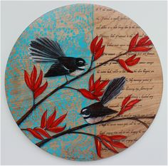 Fantail on Flax by Justine Hawksworth. Acrylic and pencil on board. Available from Black Door Gallery, Parnell. New Zealand Flax, New Zealand Art, New Zealand Wildlife, Kiwiana, Art Drawings Sketches, Bird Art, Beautiful Birds, Contemporary Art, Illustration Art
