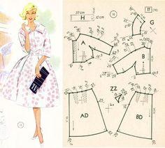 #costura #moldes Barbie Clothes Patterns, Vogue Sewing Patterns, Easy Sewing Patterns, Vintage Sewing Patterns, Sewing Clothes, Sewing Tutorials, Clothing Patterns, Diy Clothes, Style Patterns
