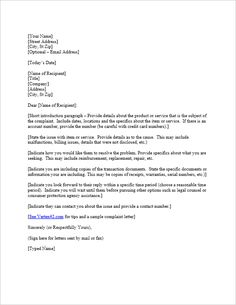 Employee complaint letter creative writing exercises writing how to write a bill template free complaint letter template spiritdancerdesigns Gallery