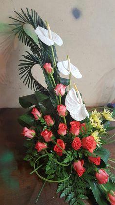 Funeral Floral Arrangements, Tropical Flower Arrangements, Church Flower Arrangements, Beautiful Flower Arrangements, Beautiful Flowers, Altar Flowers, Home Flowers, Church Flowers, Funeral Flowers