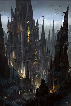 ideas for dark fantasy landscape rpg Fantasy City, Fantasy Castle, Fantasy Places, Fantasy Kunst, Fantasy World, Gothic Castle, Dark Castle, Medieval Gothic, Medieval Fantasy