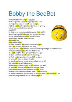 This short story/activity is to help young children recognise left and right using a BeeBot as a story prop.  (To support computing/programming skills)<br ...