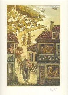 Landolfo Rufolo - El Decamerón de G. Boccaccio, con grabados originales de Celedonio Perellón :: Novela cuarta: Landolfo Rufolo, arruinado, se hace corsario; apresado por los genoveses, naufraga y logra salvarse agarrado a un cofre lleno de valiosas joyas; ayudado por una mujer de Corfú, rico regresa a casa :: © 2008 Liber Ediciones