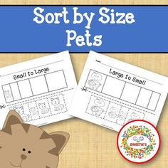 Sort by Size Activity Sheets - Color, Cut, and Paste - Pets Theme