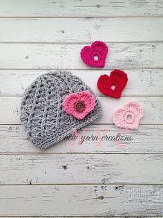 Interchangeable Hearts Valentine Crochet Hat by NewYarnCreations