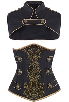 """Camellias Women's Steel Boned Tamra Velvet Steampunk Corset, Side note- have the buttons as """"X"""" and have it as an """"X-Men"""" outfit with a solid color (Red? Steampunk Accessoires, Mode Steampunk, Steampunk Costume, Steampunk Clothing, Steampunk Fashion Women, Steampunk Shoes, Cool Outfits, Fashion Outfits, Fashion Goth"""