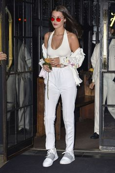 Bella Hadid rocks an all-white ensemble while leaving the Bowery Hotel in NYC on October 15.
