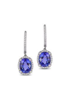 Effy Gemma 14K White Gold Tanzanite and Diamond Earrings, 4.14 TCW - Earrings - Women