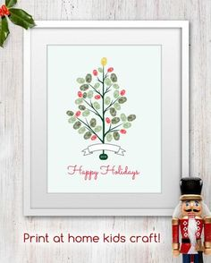 2014 Printable Kids Christmas Fingerprint Tree Craft