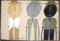 Mose Tolliver, Triple Portrait, 1980s, house paint on plywood, 23 x 33, from the collection of Ann & Ted Oliver.