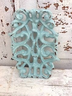 Light Blue Home Decor Aqua Cast Iron   Victorian Inspired by AlacartCreations