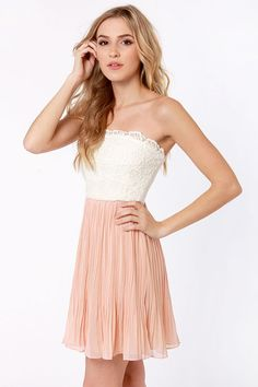 Lovely Strapless Dress - Blush Pink Dress - Lace Dress - $78.00