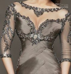2014 New Collection Mermaid Evening Dresses Formal Gowns With Half Sleeves Backless Jewel Transparent Neckline Beading Sexy Black
