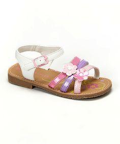 Love this White & Purple Flower Strap Sandal on #zulily! #zulilyfinds