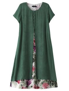 Women Short Sleeve Fake Two Pieces Floral Printed Vintage Dress